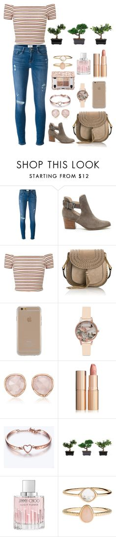 """""""Untitled #5"""" by devj-35 ❤ liked on Polyvore featuring Frame Denim, Sole Society, Miss Selfridge, Chloé, Agent 18, Olivia Burton, Monica Vinader, Nearly Natural, Jimmy Choo and Accessorize"""