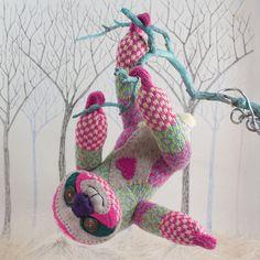 Playful Sloth  Sock Animal  Soft Sculpture Sock by SuziesTeaRoom