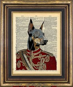 Dog Doberman Dictionary page Unique gift art print by PageRager, $9.00