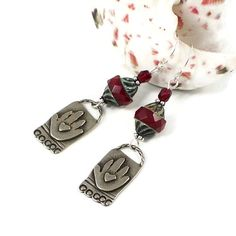 """Red Czech Glass and Silver Dangle Earrings with """"Heart In My Hand"""" artisan charms by #SolanaKaiDesigns $28 #ValentinesDay #giftforher @solanakaidesign"""