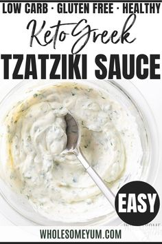 Easy Greek Tzatziki Sauce Recipe - Easy Greek Tzatziki Sauce Recipe - Learn how to make tzatziki sauce - it's EASY and versatile! This healthy Greek tzatziki sauce recipe can be made in 5 minutes and is perfect for meats, appetizers, and more. #wholesomeyum #greekfood #greekrecipes #dips #appetizers #lowcarb #glutenfree #keto #ketorecipes #lowcarbrecipes Keto Veggie Recipes, Greek Recipes, Low Carb Recipes, Real Food Recipes, Cooking Recipes, Low Carb Appetizers, Appetizer Recipes, Tzatziki Sauce Recipe Easy, Low Carb Side Dishes