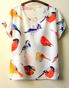 White Short Sleeve Birds Print Blouse $14.67