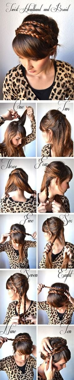 Learn How to Make Twist Hairband and Braid - A DIY Hairstyle that can be ready in a minute - For more hair go to www.pinterest.com/perfectcircle/hair-inspiration/