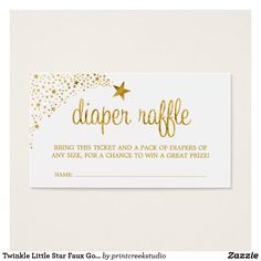Twinkle, twinkle little star baby shower diaper raffle tickets. Adorable design in faux gold and white.