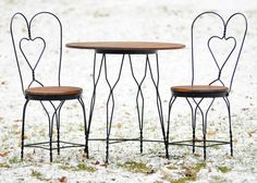 Ice Cream Parlor, Bistro, Pub, General Store Table and Chairs Set - Oak and Wrought Iron - A Vintage Beauty. $295.00, via Etsy.