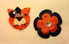 Auburn Tigers flower and ribbon sculpture set $11 by A Little Bit a Grace