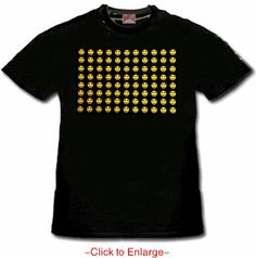 New Raving Smileys T-Shirt With Ultra Sound Sensor. The wicked sound-sensitive smiley faces jump and flash in time to the music wherever you are combining retro-cool with up to the minute digital technology. Price $24.99