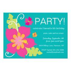 Hawaiian Party Invitation Birthday