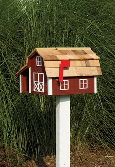 Amish Handmade Barn Rural or City Mailbox Paperbox Combo - Prim and Country Bird and Butterfly Houses