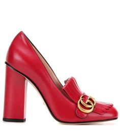 Red leather loafer pumps