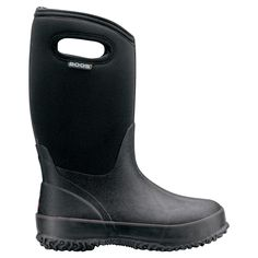 The Classic High Handles by Bogs Footwear. The Bogs® Classic High Handles are waterproof and ready for anything. Constructed with durable hand-lasted rubber for optimal comfort. Insulated with 7mm waterproof Neo-Tech and Aegis anti-microbial odor protection insole. Easy-on pull handles (kid-tested and approved!) and comfort tested to -30°F. (We love this boots, both kids have them.)