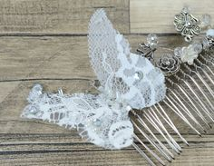 Lace Butterfly Bridal Comb Bridal White Silver Floral hair