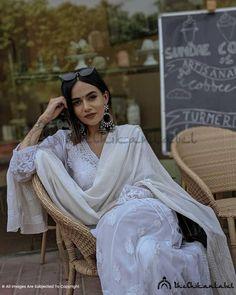 The Chikan Label Faux Georgette White Chikankari Anarkali Angarkha Kurta Worn By Komal Pandey - The Chikan Label Casual Indian Fashion, Indian Fashion Dresses, Dress Indian Style, Pakistani Dresses, Ethnic Outfits, Indian Outfits, Trendy Outfits, Ethnic Dress, Fashion Outfits