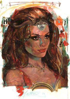 Beautiful Brunette.  Helen of Troy.  By Bill Mather.