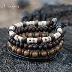Mens Beaded Leather Bracelet, Surfer, Mala, Bone Skull Beads, Wood, Layered…