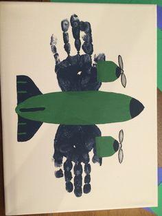 Handprint airplane- boys room
