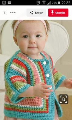 Exciting news! Darla Sims has created a crochet version of Elizabeth Zimmermann's classic knitted Baby Surprise Jacket--and she's added lots of fun variations! Now you can crochet a surprise sweater and add stripes, ruffles, a hood, a collar, or other swe Crochet Baby Sweaters, Crochet Yarn, Crochet Clothes, Baby Knitting, Knitted Baby, Crochet Cardigan Pattern, Crochet Jacket, Baby Pullover, Baby Cardigan