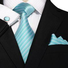New- Tiffany Blue and White Stripe JPM18A64 – Toramon Necktie Company