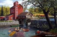 The kids are having a great time at the old fishing hole. They have brought their rafts, tire swing, and inner tubes in this Ken Zylla print.