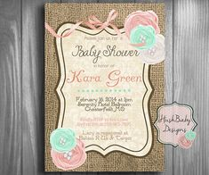 Shabby Chic arpillera rústica bebé ducha por HushBabyDesigns