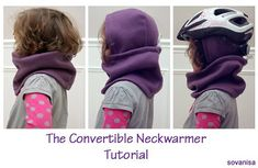 Pamela from Sovanisa shows how to make a convertible neck warmer for a child. It's a fleece neck warmer with a hood sewn into the back. It can worn with the hood on the head, even under a b…