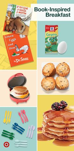 Find easy breakfast ideas like muffins, Seuss-inspired eggs, burritos & more to turn kids' favorite books into fun meals.