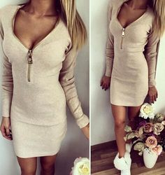 bbe8b67bf1 15 Best Knit long sleeve autumn winter sweater bodycon dress images ...