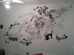 Desenho na parede do quarto