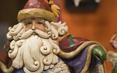 A wooden Father Christmas - wonderful face and beard