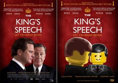 Blockbuster Movie Posters Recreated Using Lego Characters Vamers - Fandom - Movie Lego Posters - The Kings Speech - lego-poster - Lego Film, Lego Movie, Lego For Adults, King's Speech, Inspirational Movies, Blockbuster Movies, Fandoms, Humor Grafico, About Time Movie