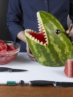 How to Carve a Watermelon Shark #SharkWeek
