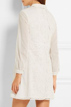Saint Laurent | Prairie broderie anglaise cotton mini dress | NET-A-PORTER.COM