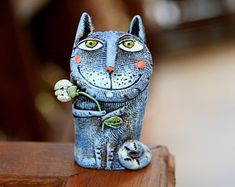 Log in to your Etsy account. Clay Cats, Boy Cat, Small Sculptures, Paper Clay, Character Design References, Cat Lover Gifts, Dog Toys, Cat Art, Ceramic Art