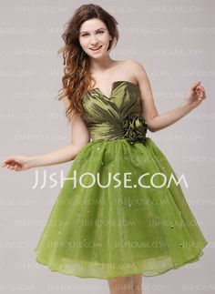 Cocktail Dresses - $106.99 - A-Line/Princess Scalloped Neck Knee-Length Taffeta Organza Cocktail Dress With Ruffle Beading Flower(s) (016013974) http://jjshouse.com/A-Line-Princess-Scalloped-Neck-Knee-Length-Taffeta-Organza-Cocktail-Dress-With-Ruffle-Beading-Flower-S-016013974-g13974
