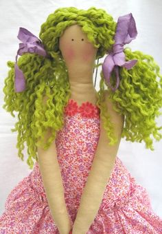 tilda doll pattern books | Her hair ribbons are white cotton fabric strips hand-dyed with GM ...