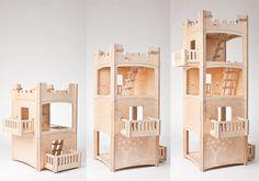 Toideloi StackHouse : Modular Modern Wooden Dollhouse for Boys and Girls