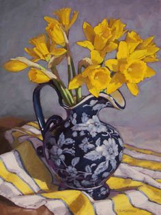 yrllow daffodils in a vase Floral Drawing, Floral Watercolor, Painting & Drawing, Watercolor Paintings, Virtual Art, Painting Workshop, Mellow Yellow, Daffodils, Painting Inspiration
