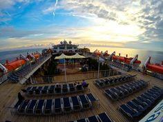 On the Carnival Sensation deck at sunset