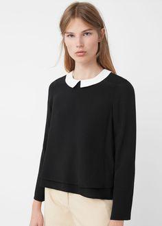 Blusa cuello contraste | MANGO