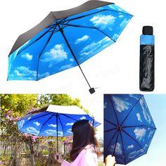 Anti UV Sun Protection Umbrella Blue Sky 3 Folding Parasols Rain Umbrella at Banggood