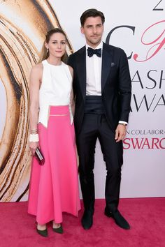 Olivia Palermo (R) and Johannes Huebl attend the 2016 CFDA Fashion Awards at the Hammerstein Ballroom on June 6, 2016 in New York City