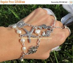 Pearl Nautical Starfish Slave Bracelet by TheMysticalOasisGlow