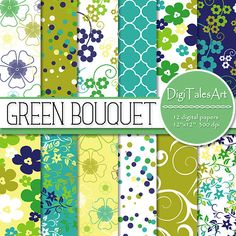 """Digital paper pack by DigiTalesArt. Flower digital paper """"Green Bouquet"""" that includes flower patterns, Moroccan damask patterns, dots and confetti patterns, flower swirls patterns. Perfect for scrapbooking, making cards, invitations, collages, crafts, web graphics, and so much more."""