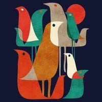 - Birds - midcentury modern / retro Flock of Birds Art Print by Picomodi Art And Illustration, Vogel Illustration, Illustrations, Retro Kunst, Retro Art, Retro Color, Mid Century Modern Art, Mid Century Art, Flock Of Birds