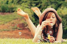 bubbles, cute, feet, girl, green, nature - inspiring picture on Favim.com