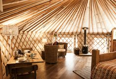 Glamping at Uppergate Farm- Superb luxury 'glamping yurt' with hot tub, kitchen and shower room Yurt Interior, Interior Stairs, Interior Design, Luxury Yurt, Terrain Constructible, Yurt Home, Yurt Living, Canopy And Stars, Outdoor Wedding Inspiration