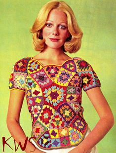 INSTANT DOWNLOAD    Crochet Pattern - Vintage Hippie Retro 70s Granny Squares Top PDF Pattern Vintage 70s Granny Squares Top PDF Pattern. Stained