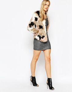 Image 4 ofVero Moda Patchwork Faux Fur Coat