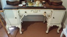 Beautiful Vintage Cream Gold and Black Vanity   by BabyBAntiques
