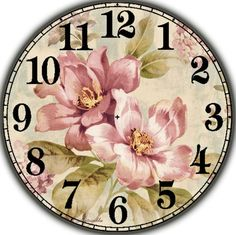 ru / Fotografie č. Decoupage Vintage, Vintage Diy, Clock Face Printable, Dossier Photo, Clock Display, Clock Art, Painted Wood Signs, Scrapbooking, Vintage Flowers